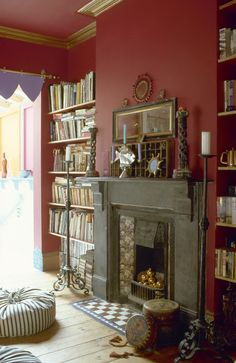 Red Living Room Photos of Living Room Red, Living Room Photos, Eclectic Living Room, Living Room Designs, Eclectic Bedrooms, Room Color Schemes, Room Colors, Paint Colors, Red Room Decor
