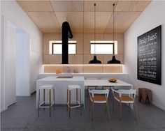 Cool Industrial White And Wood Kitchen Ideas With Table And Also Chairs