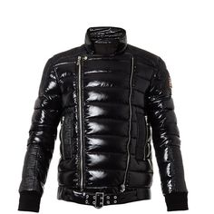 BALMAIN Quilted down biker jacket (€1.180) ❤ liked on Polyvore featuring mens, men's clothing, men's outerwear, men's jackets, black multi и coats & jackets