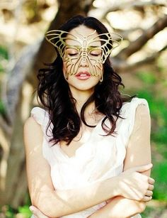 Butterfly leather mask in Gold by TomBanwell on Etsy, $39.00
