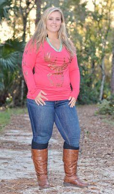Coral women's plus size big buck long sleeve top  - Sporty Girl Apparel