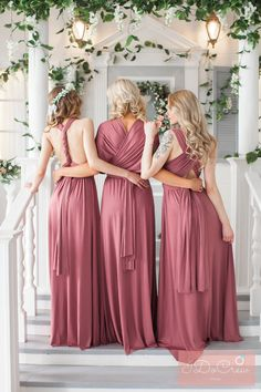 Dusty Rose Bridesmaid Dress Infinity Dress Floor Length Maxi Wrap Convertible Rosewood Dress Wedding Dress Multiway Dress by IDoCrewDesign on Etsy https://www.etsy.com/listing/598914534/dusty-rose-bridesmaid-dress-infinity