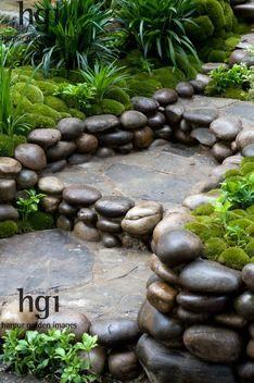 Harpur Garden Images :: 12mhch213 Steps of stone and pebbles cobbles Zen oriental Japanese style Design: Kazuyuki Ishihara Rhs Chelsea Flower Show 2012. Satoyama Life Garden. Gold Award. Marcus Harpur