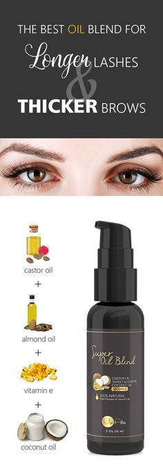 This is the best all in one oil blend for eyelashes and eyebrows I've seen! 100% Castor oil, Sweet Almond Oil, Coconut Oil, and Vitamin E oil. No Fillers.