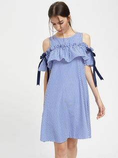 Frill Cold Shoulder Bow Detail Swing Dress -SheIn(Sheinside)