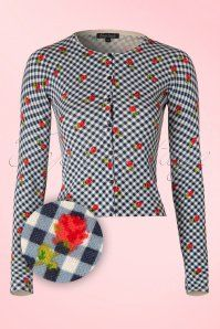 King Louie Blue Rose Checked Cardigan 140 39 16650 20160224 0005W1