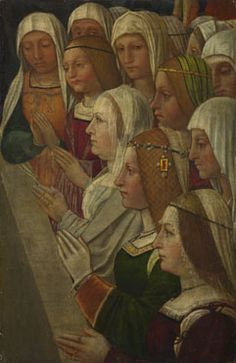 Female Members of a Confraternity  about 1500, Italian, Milanese  FullscreenReset  This painting is part of the group: Fragments of a Confraternity Banner. National gallery, London. It was probably painted as part of a confraternity banner or standard once in the Charterhouse of Pavia,