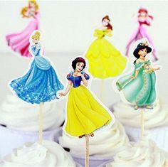 48Pcs/lot 6 Designs Of Princess Cupcake Toppers Picks