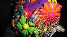 Brooch Bouquet -- Bright colors for Las Vegas wedding. Bride requested patriotic touch for her groom.