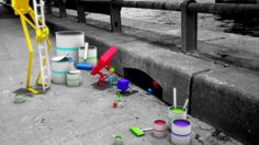 Reulf by Charlesque. In a black & white Paris, little creatures with paintbrush decide to brighten up the city...