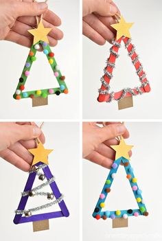 These popsicle stick Christmas trees are so much FUN! They're so easy to mak. - These popsicle stick Christmas trees are so much FUN! They're so easy to mak… Christmas Crafts - Stick Christmas Tree, Easy Christmas Crafts, Diy Christmas Ornaments, Christmas Christmas, Christmas Crafts For Kids To Make At School, Christmas Tree Decorations For Kids, Christmas Activities For Toddlers, Childrens Christmas Crafts, Christmas Fashion