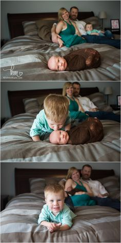 fun with baby brothers - family on bed with newborn - in home newborn photography lifestyle session