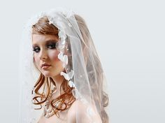 Petal Veil With PearlsCouture Bridal Veil by Corrine ONeill on Etsy