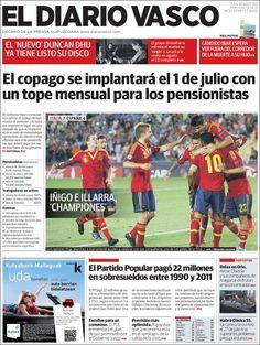 Los Titulares y Portadas de Noticias Destacadas Españolas del 19 de Junio de 2013 del Diario Vasco ¿Que le parecio esta Portada de este Diario Español?