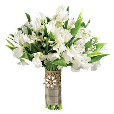 Lily of the valley is the royal bouquet bloom. Mix them with sweet peas for a modern touch, and finish with a regal brooch. #weddingbouquet #dazzlebyandrea #eventplanning #weddingplanning #beautifulbouquet
