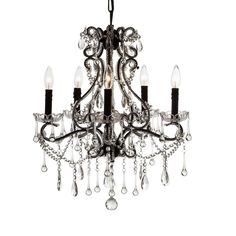 """Decomust® Wrought Iron Crystal Chandelier Lighting 5 Light Candle H24"""" X Dia 20"""" #Decomust #Contemporary"""