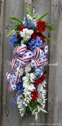 Patriotic Wreath, Summer Floral Wreath, Fourth of July Wreath, Floral Swag | eBay