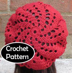 crochet swirl hat pattern – Knitting Tips Crochet Beret, Crochet Yarn, Easy Crochet, Crochet Hooks, Free Crochet, Crochet Wedding Dress Pattern, Knitting Patterns, Crochet Patterns, Sport Weight Yarn