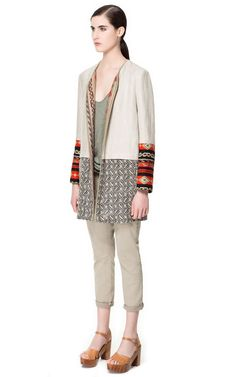 RUSTIC COMBINATION LINEN COAT - ZARA