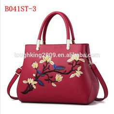 Flower Pattern Office Ladies Hard PU Leather Bags Handbag Factory With 9 Colors Choice
