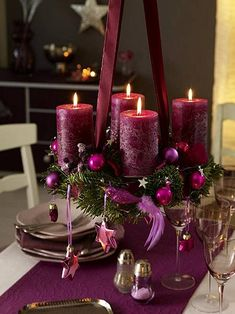 Photo: Purple Christmas centerpiece – very fairly! Categories: Decoration Added: Tags: Purple,Christmas,centerpiece,very,fairly! Resolutions: Description: This photograph is about Purple Christmas centerpiece – very fairly! Purple Christmas Decorations, Christmas Table Centerpieces, Christmas Tablescapes, Holiday Decor, Centerpiece Ideas, Purple Centerpiece, Candle Decorations, Christmas Candles, Wedding Centerpieces