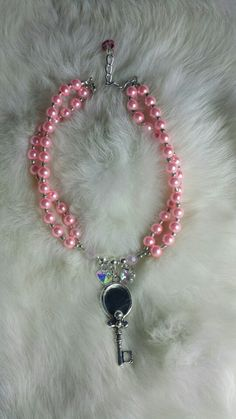 Little girl pink glass pearls with pink opaque crystals and glass hearts with mirror pendant by Miss D