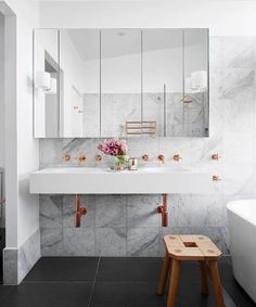 "674 Likes, 13 Comments - Dot➕Pop Interiors - Eve Gunson (@dotandpop) on Instagram: ""Oooohhhh la la... copper and marble bathroom love! Beauty by @hortonandcodesign via…"""