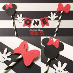 Minnie Mouse Birthday Age Cake Bunting by ArtisticAnyaDesigns on Etsy