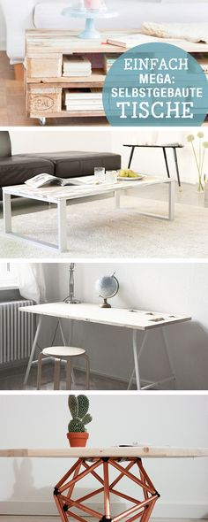 DIY-Anleitungen: Tisch aus Holz selbst bauen, Palettenmöbel, moderne Wohnmöbel, Accessoires für Dein Zuhause / DIY-tutorials: crafting wooden table out of pallets, upcycling, modern furniture, home accessory via DaWanda.com