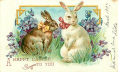 A happy Easter Two Bunny Rabbits with Bows Vintage 1907 Easter Postcard Easter Art, Easter Bunny, Vintage Greeting Cards, Vintage Postcards, Happy Easter Messages, Holiday Messages, Decoupage, Easter Quotes, Easter Sayings