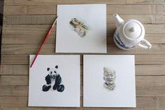 3 Chinese Themed Mini Watercolor Painting Prints // small paintings // Terra Cotta Warriors // Panda // Great Wall of China // travel art