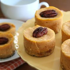 Maple Mini Pumpkin Cheesecakes - See more mouth-watering low-carb dessert recipes at All-Desserts.com!