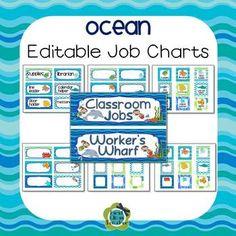 Ocean Theme Classroom Job Chart (Editable)                                                                                                                                                                                 More