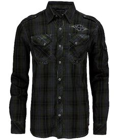 Affliction Black Premium Hot Flash Shirt - Men's Shirts in Green Edgy Outfits, Cool Outfits, Fashion Outfits, Mens Fashion, Mens Flannel Shirt, Denim Shirt, Affliction Clothing, Cool Shirts, Men Shirts