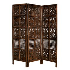 Hand Carved Patterned Mango Wood Room Divider Three Panel Screen Accent - Screens & Room Dividers