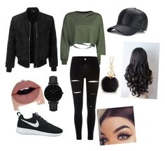 """Eva was hacking you sorry love ya"" by amara-jclarke ❤ liked on Polyvore featuring River Island, WithChic, LE3NO, NIKE, Furla and CLUSE"