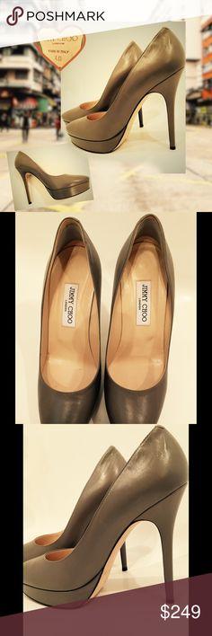 Jimmy Choo Platform Pumps Closed toe pumps in taupe/grey.  5 inch heel with 1 inch hidden platform. Jimmy Choo Shoes Heels