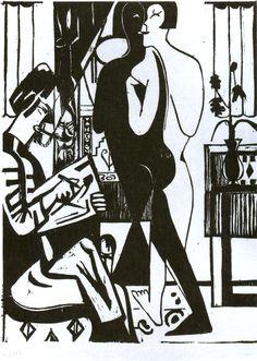 Painter and Modell via Ernst Ludwig Kirchner Size: 49.7x36.6 cm