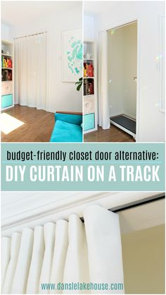 How to Sew a Closet Curtain on a Track DIY closet door alternative: make a DIY curtain on a track. Curtains For Closet Doors, Bedroom Closet Doors, Diy Curtains, Panel Curtains, Curtain Closet, Curtains On A Track, Curtain Wardrobe Doors, Ideas For Closet Doors, Diy Closet Ideas