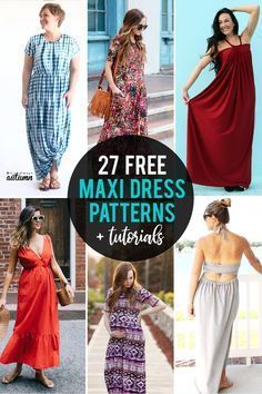 Learn how to sew your own maxi dress with one of these 27 fabulous free maxi dress patterns and tutorials. #itsalwaysautumn #maxidress #sewingpattern #sewingtutorial #maxidresstutorial #maxidresspattern