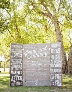 What an amazing photobooth / ceremony backdrop! Wish I had this at my wedding! Wedding Signage, Wedding Programs, Rustic Wedding, Wedding Reception, Our Wedding, Dream Wedding, Wedding Chalkboards, Zombie Wedding, Wedding Entrance