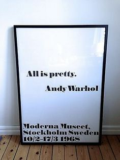 I want this poster so bad. Andy Warhol All Is Pretty Exhibition Poster 1968 Stockholm | eBay