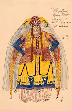 Alexandre Golovine (1863-1930). L'Oiseau de Feu, Costume design for Kostcheï's Wife, undated. Watercolor and ink. b *2004MT-73. Bequest of the Bayard Kilgour Estate, 2001.