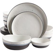 Thistle 16 Piece Double Bowl Dinnerware Set