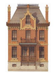 53 Trendy Home Design Vintage House Plans Victorian Buildings, Victorian Architecture, Historical Architecture, Victorian Homes, Classic Architecture, Architecture Drawings, Architecture Details, Vintage House Plans, House Illustration