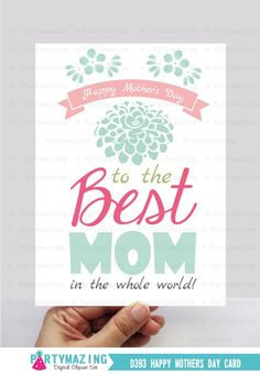 Mother's Day Card, Happy Mothers Day Printable Card, Mothers Day Gift, Mums Gift #DownloadableArt  #Mother'sDay  #mothersday  #MothersDayCard