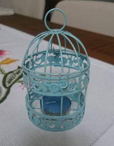 Mini Gaiola Porta-velas Azul - 15245441 | enjoei :p