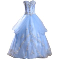 8dc63cb1e1e Meibida Ruffles Appliqued and Beaded Cinderella Ball Gown Blue Quinceanera  Dress at Amazon Women s Clothing store