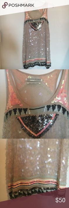 All Saints Sequin Party Dress ALLSAINTS SPITALFIELDS HAND EMBELLISHED SEQUIN PARTY COCKTAIL DRESS. Multicolor racerback shift fit. Great condition worn three times. All Saints Dresses Mini