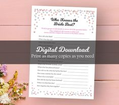 Who Knows the Bride Best Bridal Shower Game Watercolor